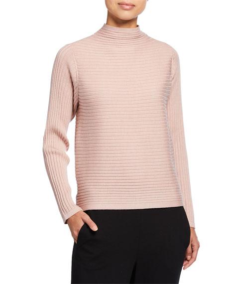 Eileen Fisher Petite Funnel-Neck Merino Wool Rib Sweater