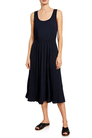 Vince Pleated Scoop-Neck Midi Tank Dress
