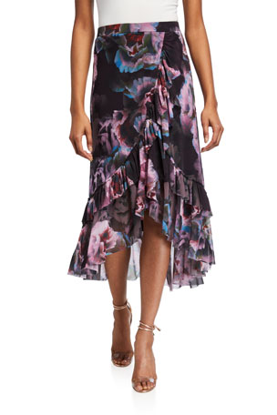 Fuzzi Peony Faux Wrap High-Low Ruffle Skirt