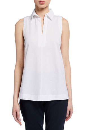 Max Mara Leisure Sleeveless Cotton Jersey Collared Top