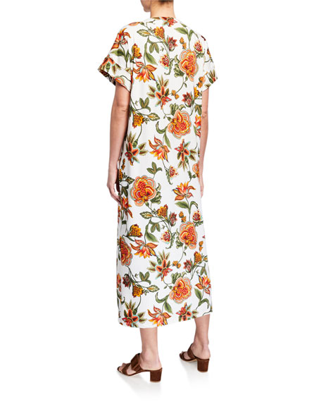 Melissa Masse Plus Size Floral-Print Brushed Jersey Maxi Tunic Dress
