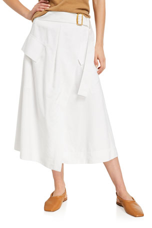 Vince Belted Utility Midi Skirt