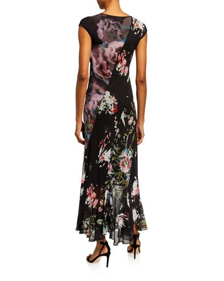 Fuzzi Patchwork Seamed Cap-Sleeve Long Dress