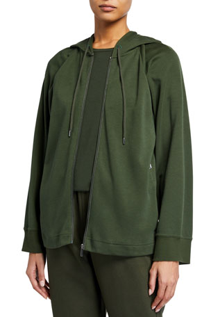 Max Mara Leisure Hooded Zip-Front Jersey Jacket