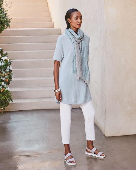 Eileen Fisher Organic Cotton Corded Short-Sleeve Tunic Sweater