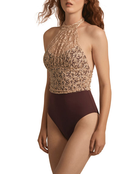 Amaio Odette Lace High-Neck Illusion One-Piece Swimsuit