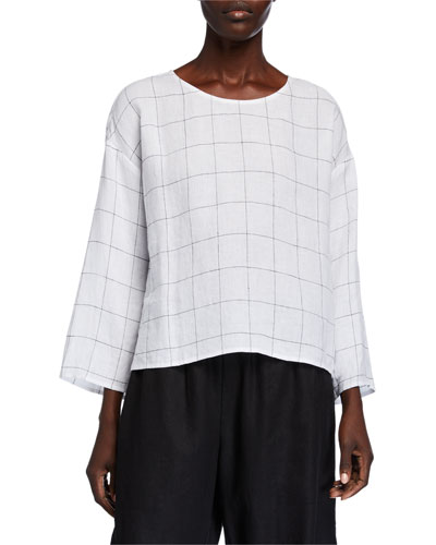 Plus Size Broad Check Jewel-Neck 3/4-Sleeve Top