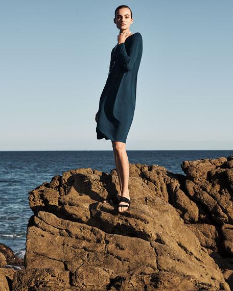 Eileen Fisher Plus Size Bracelet Bell Sleeve Jersey Shift Dress