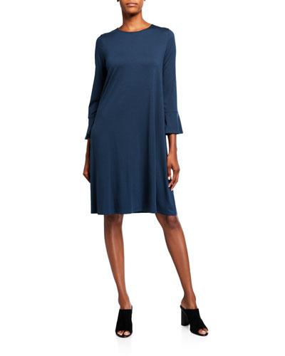 Plus Size Bracelet Bell Sleeve Jersey Shift Dress
