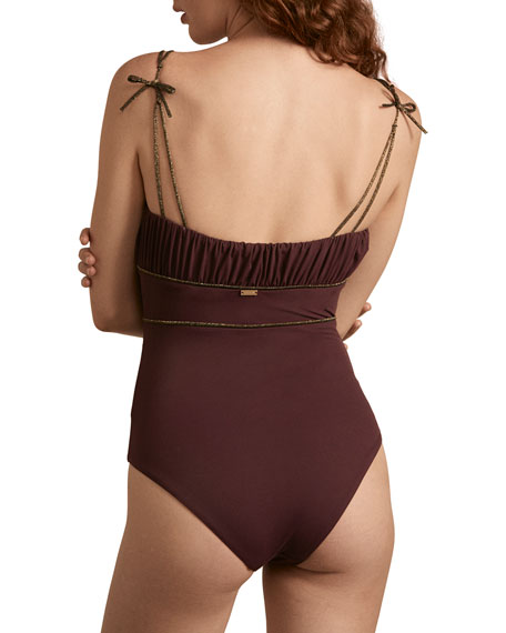 Amaio Manon Metallic-Piped Tie-Shoulder One-Piece Swimsuit