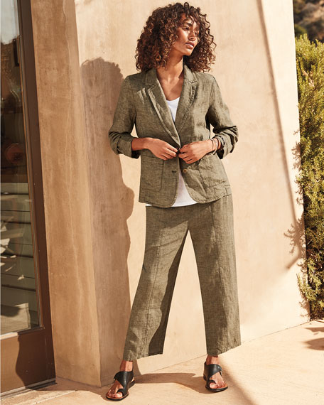 Eileen Fisher U-Neck Short-Sleeve Organic Cotton Jersey Tee