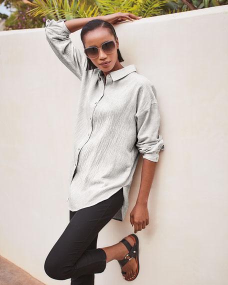 Eileen Fisher Plus Size Mini Stripe Crepe Button-Down Shirt