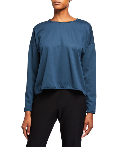 Eileen Fisher Plus Size Crewneck Long-Sleeve Travel Ponte Top