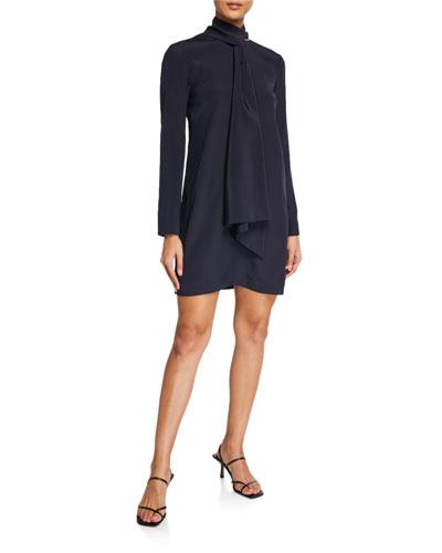 Heavy Silk Crepe de  Chine Tie-Neck Shift Dress