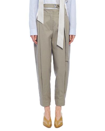 Myriam Twill Double-Waist Sculpted Pants