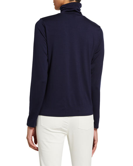 Eileen Fisher Scrunch Neck Long-Sleeve Jersey Top