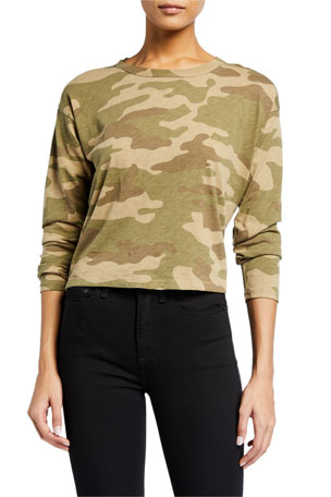 Rag & Bone Cropped Camo-Print Long-Sleeve Tee