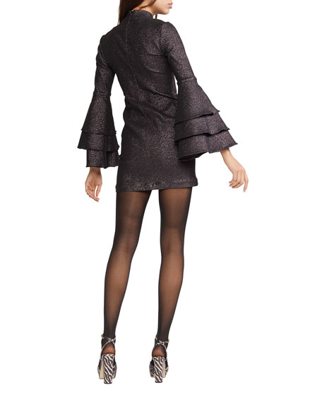 Cynthia Rowley Natasha Shimmer Bell-Sleeve Mini Dress