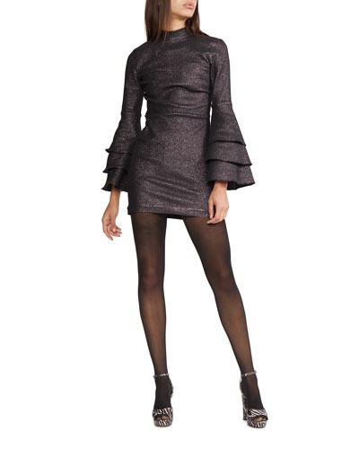 Natasha Shimmer Bell-Sleeve Mini Dress
