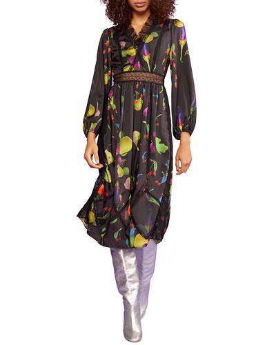 Krystal Printed Long-Sleeve Midi Dress w/ Lace & Tulle