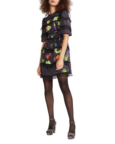 Olivia Printed Elbow-Sleeve Mini Dress