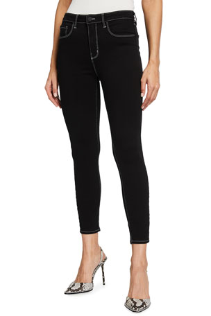 L'Agence Margot High-Rise Skinny Mix Stitch Jeans