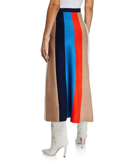 Victoria Victoria Beckham Block Stripe A-Line Skirt