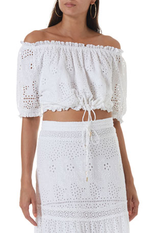 Melissa Odabash Francesca Off-the-Shoulder Eyelet Crop Top