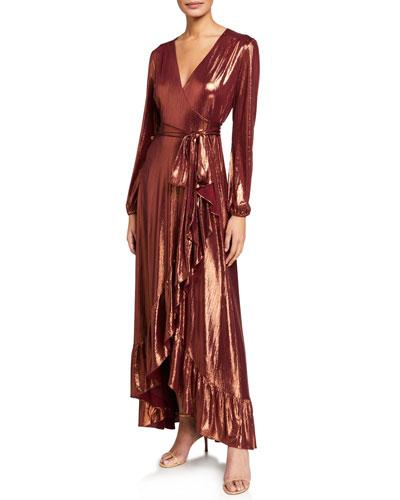 The Meryl Long-Sleeve Metallic Wrap Dress