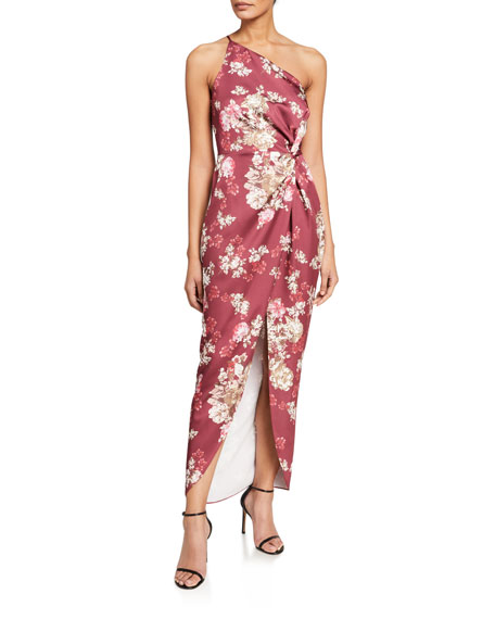 WAYF The Lainey Floral One-Shoulder Twist-Front Dress