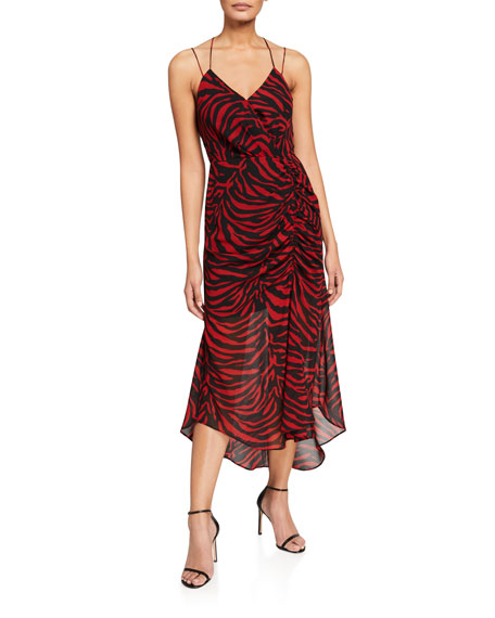 WAYF Krista Zebra Print Open-Back Cami Dress