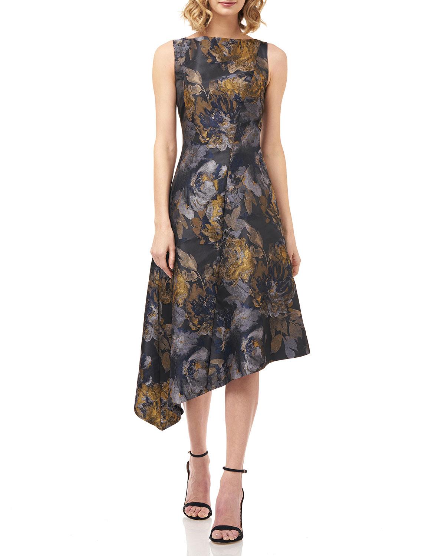Kay Unger New York Carmella Asymmetric Floral Jacquard Dress