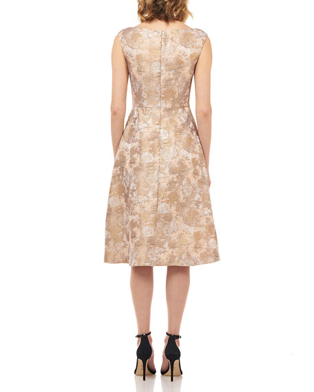 Kay Unger New York Chloe Sleeveless Birds of Paradise Jacquard Midi Dress