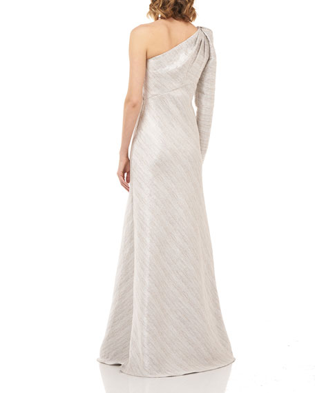 Kay Unger New York Suzanne Silver Stripe One-Shoulder Ball Gown