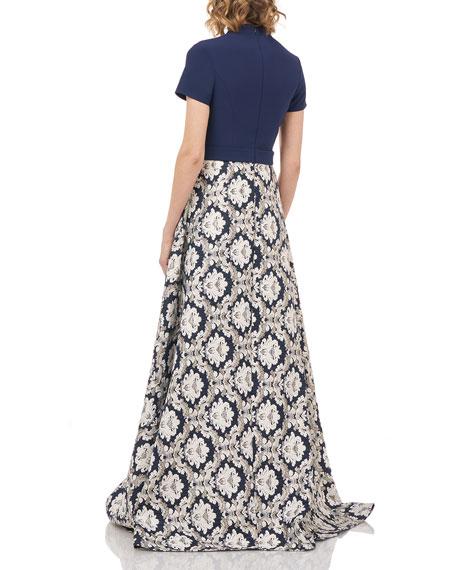 Kay Unger New York Donatella Stretch Crepe Belted Jumpsuit w/ Jacquard Overlay Skirt