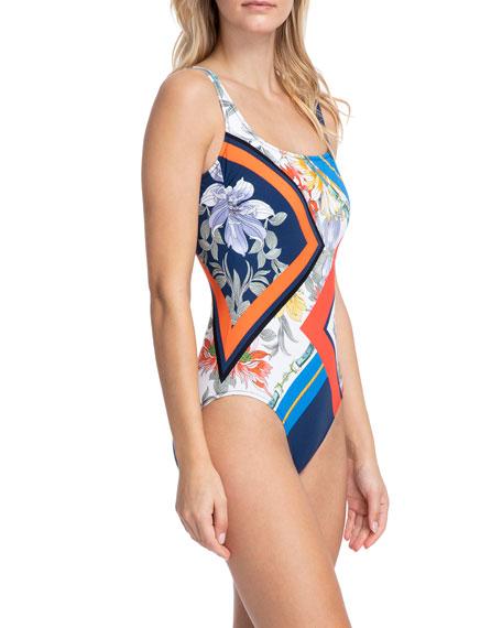 Gottex Fleur Royal Square-Neck Tank One-Piece Swimsuit