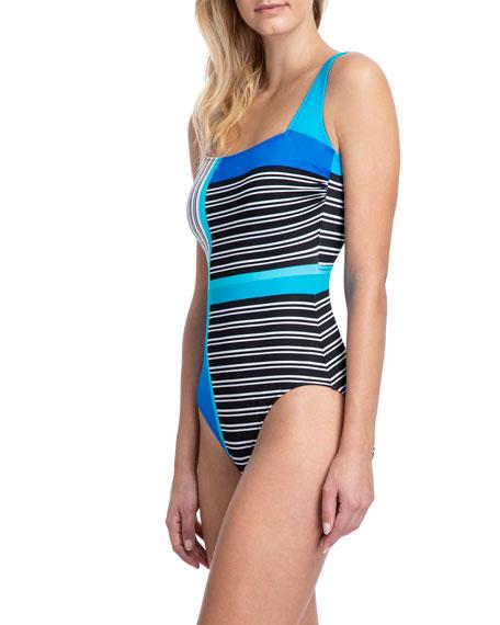 Gottex Blue Lagoon Square-Neck Tank One-Piece Swimsuit
