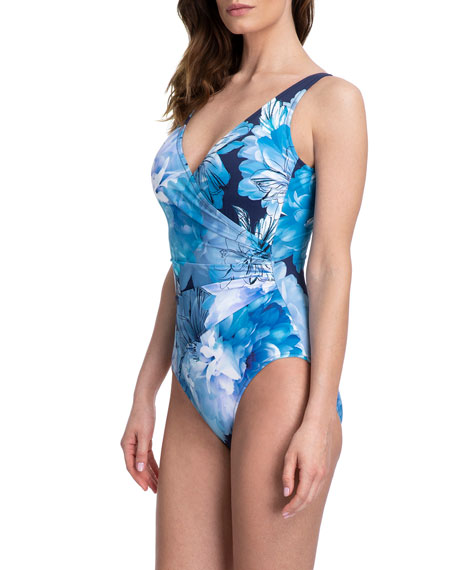Gottex Midnight Floral Surplice  One-Piece Swimsuit
