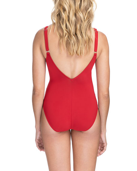 Profile by Gottex Bel Air V-Neck  One-Piece Swimsuit