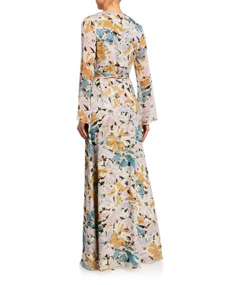Diane von Furstenberg Sharon Long-Sleeve Floral Silk Wrap Dress