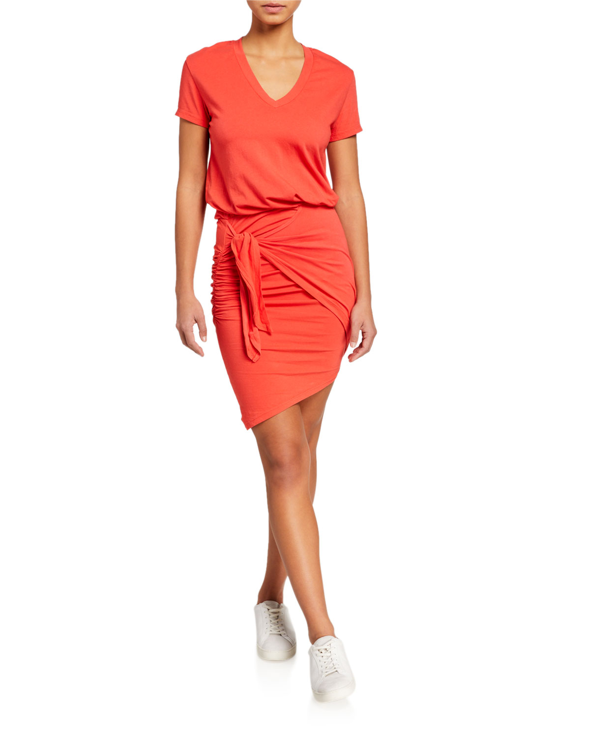 Sundry Tie-Waist V-Neck Tee Dress