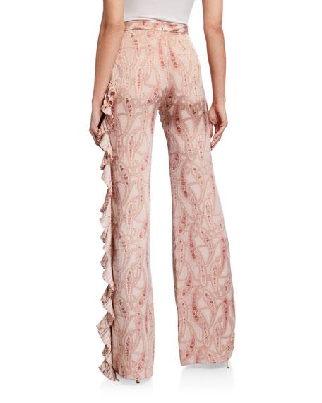 Alexis Izami Paisley-Print Ruffle Pants