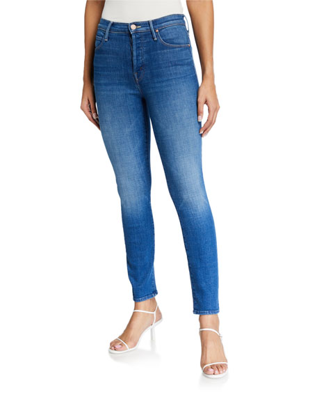MOTHER The Super Stunner Ankle Skinny Jeans with Heart Pocket