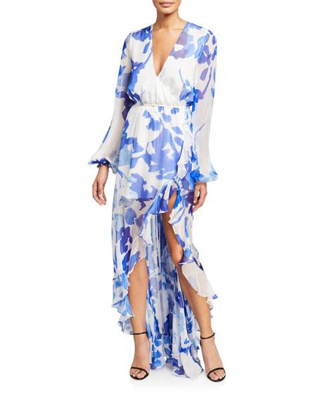 Caroline Constas Liv Printed High-Low Ruffle Dress