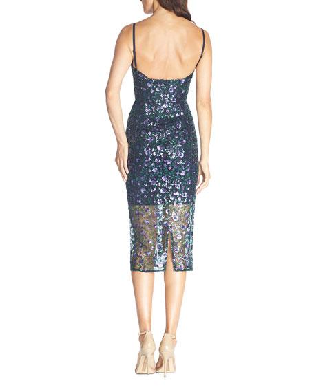 Dress The Population Addison Sequined Spaghetti-Strap Illusion Dress