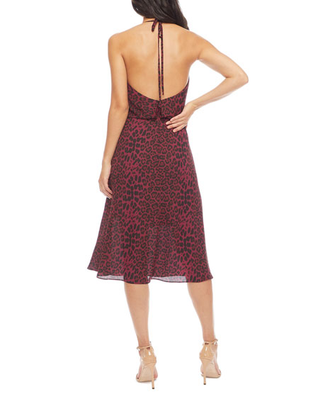 Dress The Population Zherra Leopard Cowl-Neck Midi Halter Dress