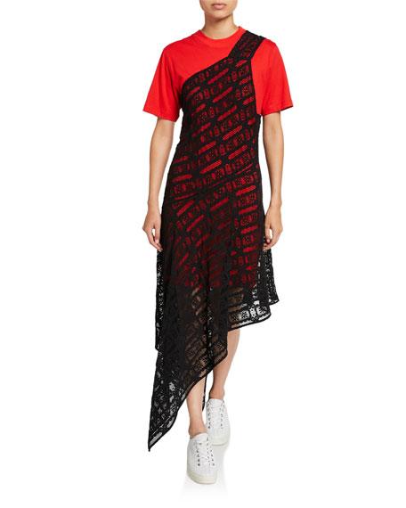 McQ Alexander McQueen Giri Lace Overlay Asymmetric Tee Dress