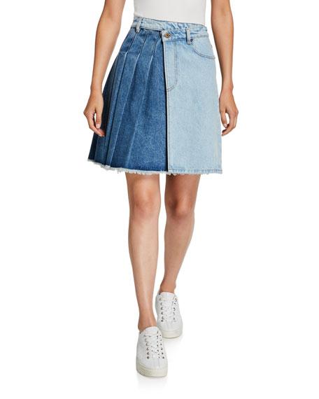 McQ Alexander McQueen Maru Two-Tone Pleated Denim Kilt Skirt