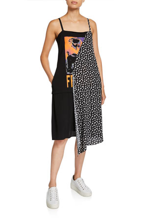 McQ Alexander McQueen Draped Sleeveless Graphic Dress