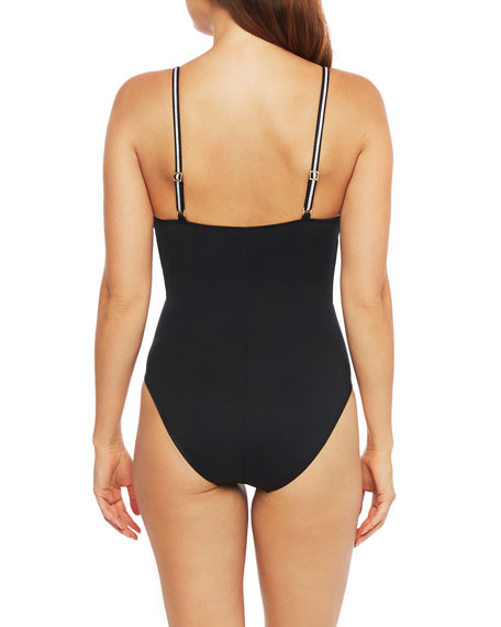 La Blanca Plunging Strappy Mio One-Piece Swimsuit